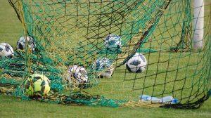 Bramka piłkarska w ogrodzie